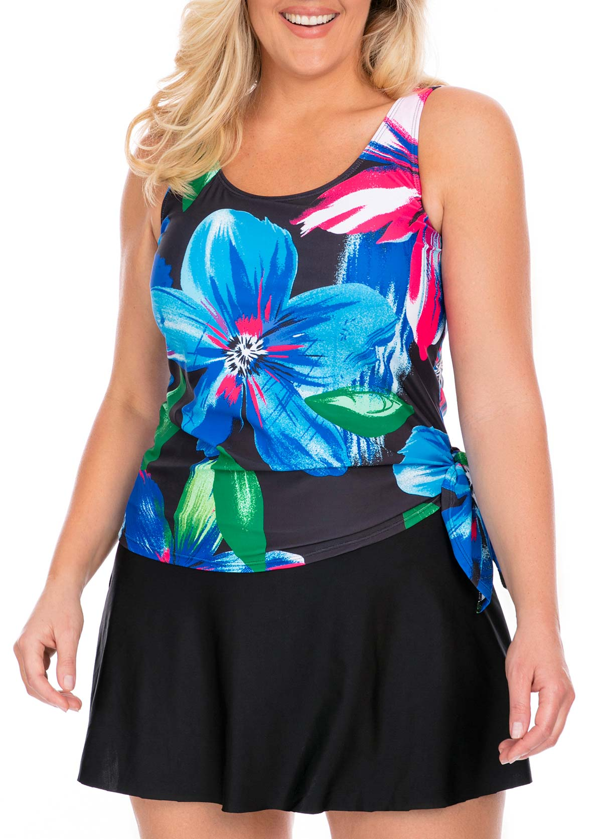 Tie Side Plus Size Tankini Top and Pantskirt
