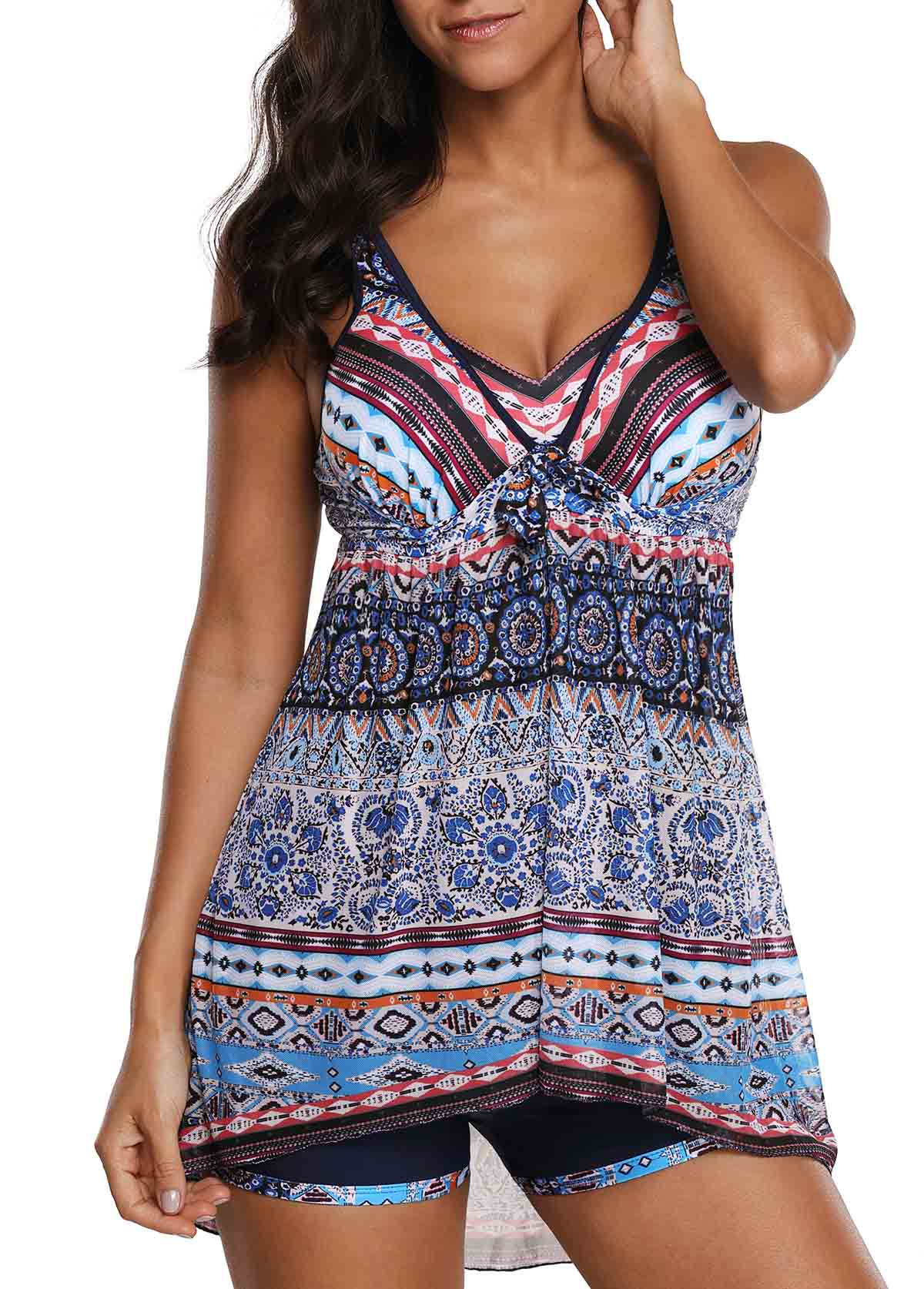 Open Back Printed Swimdress and Shorts
