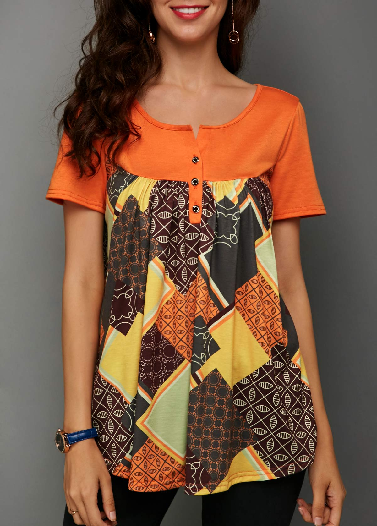 Short Sleeve Printed Button Detail Blouse