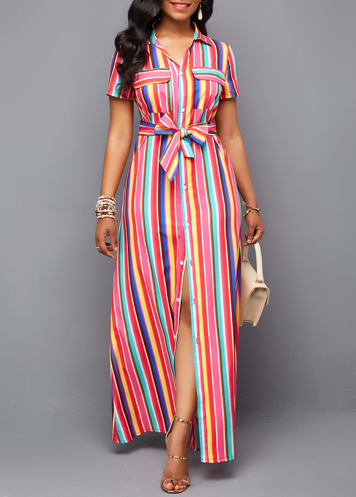 Button Up Turndown Collar Belted Maxi Dress