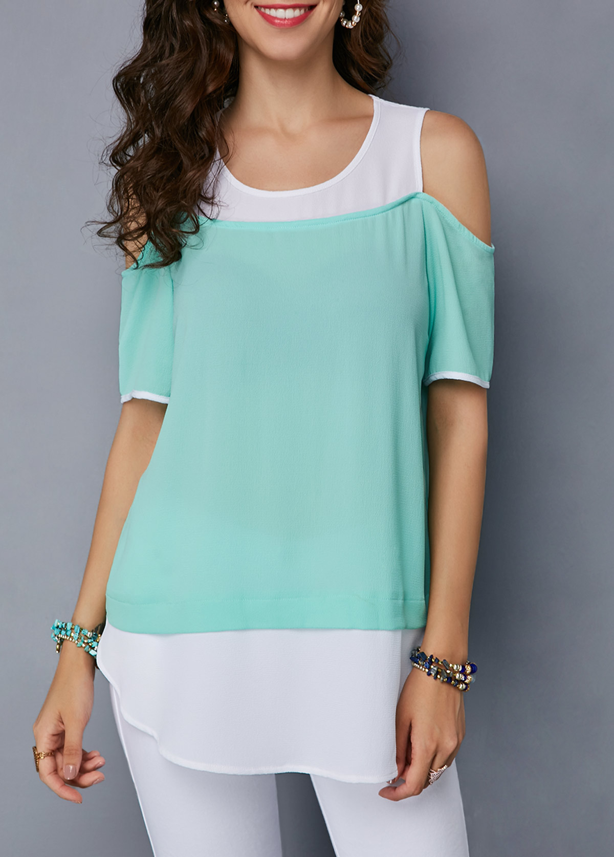 ROTITA Mint Green Cold Shoulder Curved Blouse