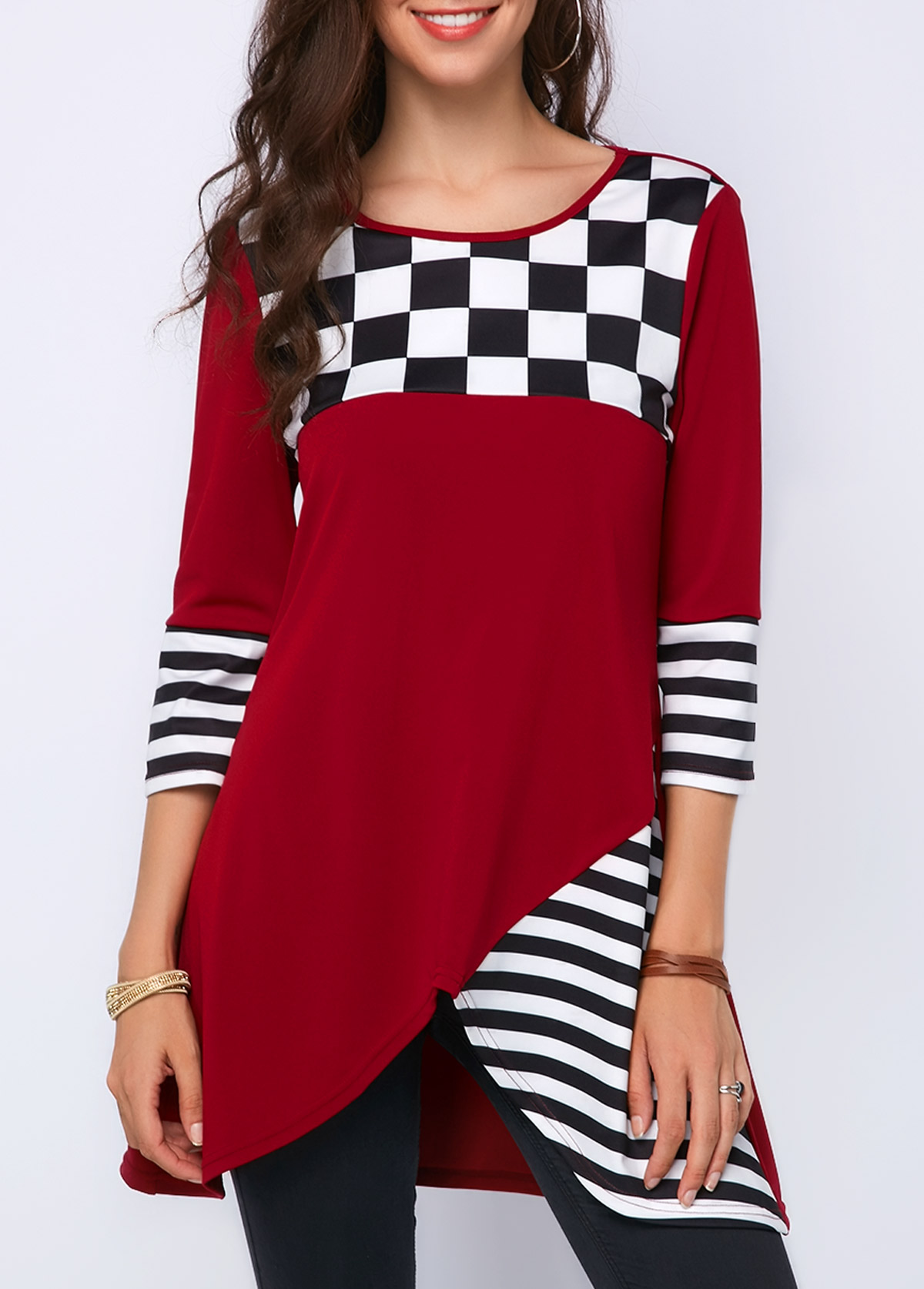Three Quater Sleeve Asymmetric Hem Blouse