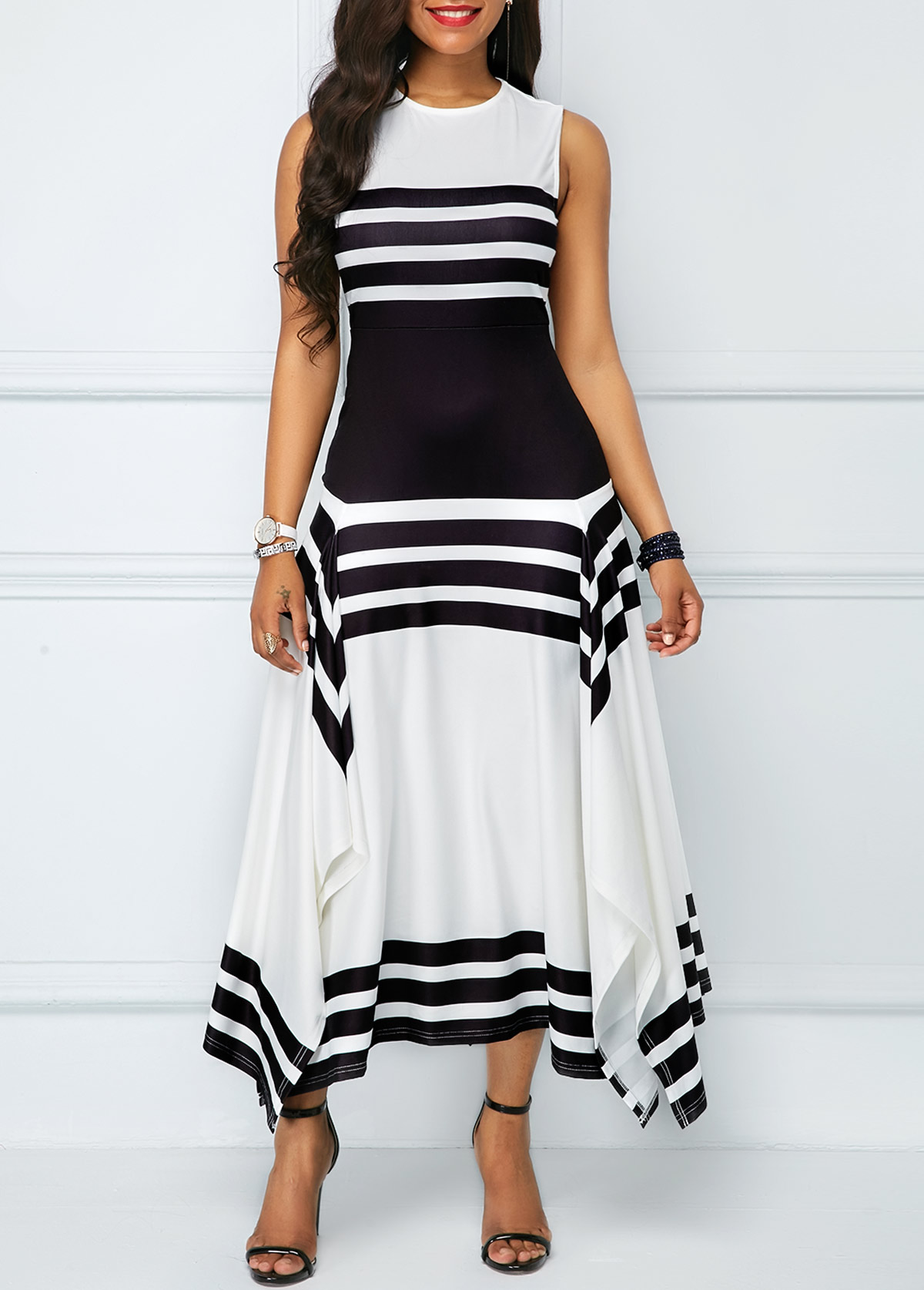 Stripe Print Asymmetric Hem Sleeveless Midi Dress