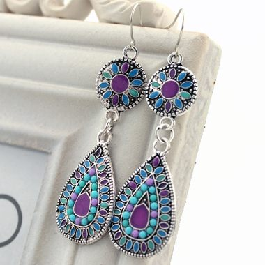 Drop Shape Bead Embellished Dangle Earrings
