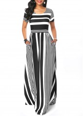 Round-Neck-Stripe-Print-Short-Sleeve-Maxi-Dress