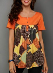 Short-Sleeve-Printed-Button-Detail-Blouse
