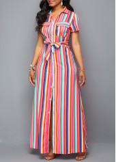 wholesale Button Up Turndown Collar Belted Maxi Dress