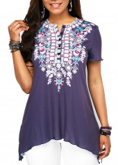 Short-Sleeve-Button-Up-Printed-Blouse