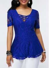 Short-Sleeve-Lace-Up-Scoop-Back-Lace-Blouse