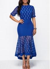 Chevron Detail Print Mesh Patchwork Sheath Dress