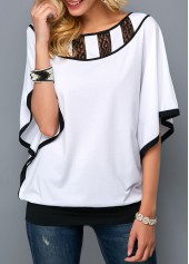 Batwing-Sleeve-Contrast-Binding-Lace-Panel-Blouse