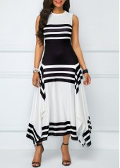 Stripe-Print-Asymmetric-Hem-Sleeveless-Midi-Dress