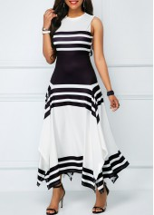 wholesale Stripe Print Asymmetric Hem Sleeveless Midi Dress