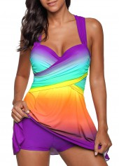 Purple Wrap Front Printed Swimdress and Shorts