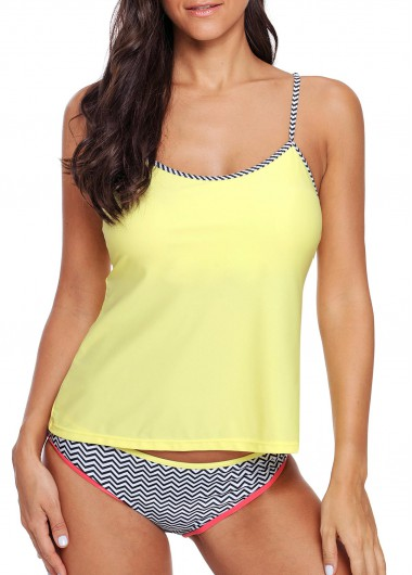 Spaghetti Strap Light Yellow Tankini Set