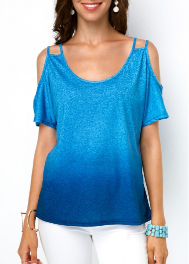 Round Neck Cold Shoulder Ombre T Shirt