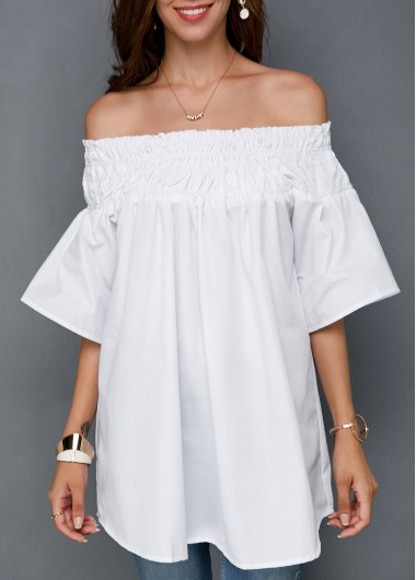 Off the Shoulder Shirred White Blouse