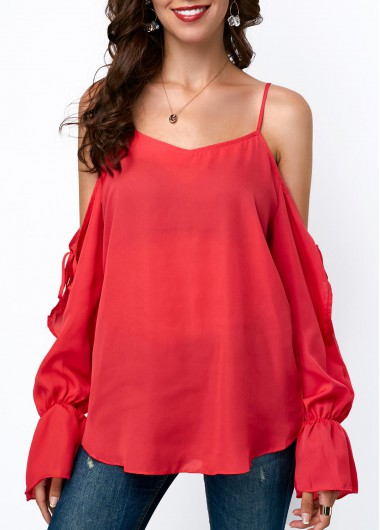 Strappy Cold Shoulder Long Sleeve Chiffon Blouse