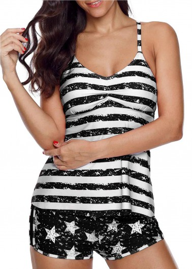 Star and Stripe Print Tankini Set