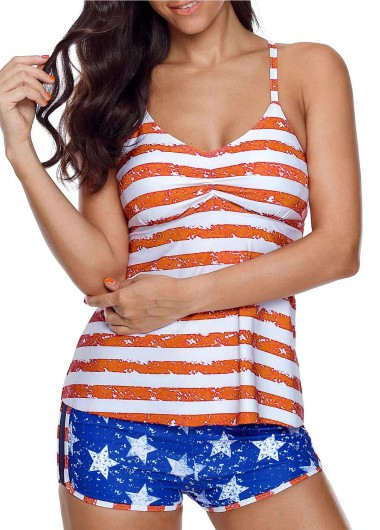 Cutout Striped Orange Tankini Top and Blue Shorts