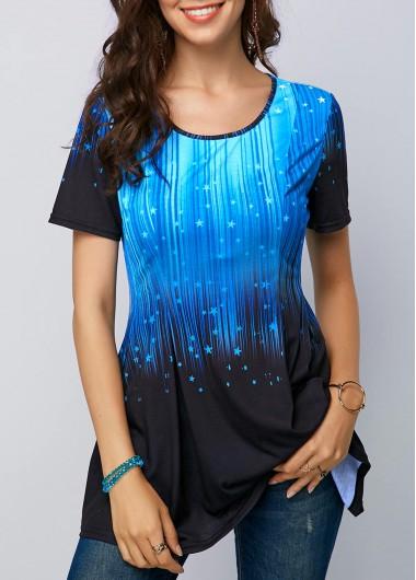 Star Print Short Sleeve T Shirt