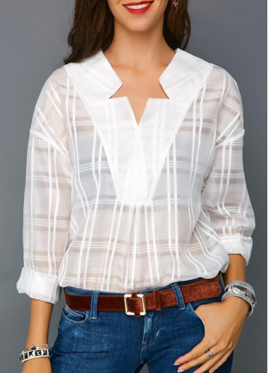 Roll Sleeve Curved Hem White Blouse