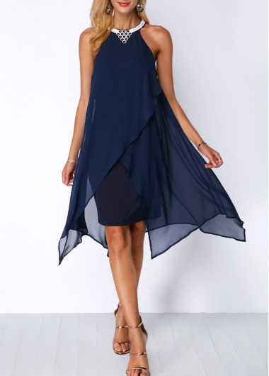 Asymmetric Hem Embellished Neck Chiffon Overlay Dress