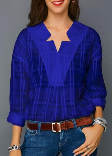 Blouse | Sleeve | Royal | Long | Blue