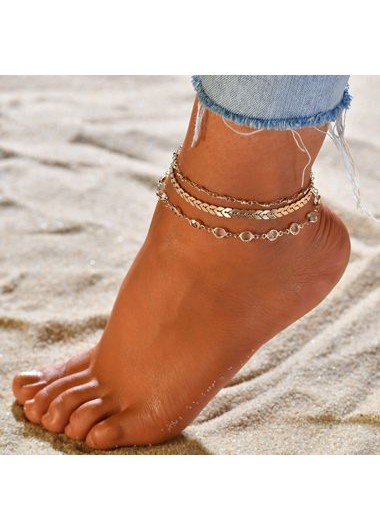 3pcs Gold Metal Chain Anklets for Woman