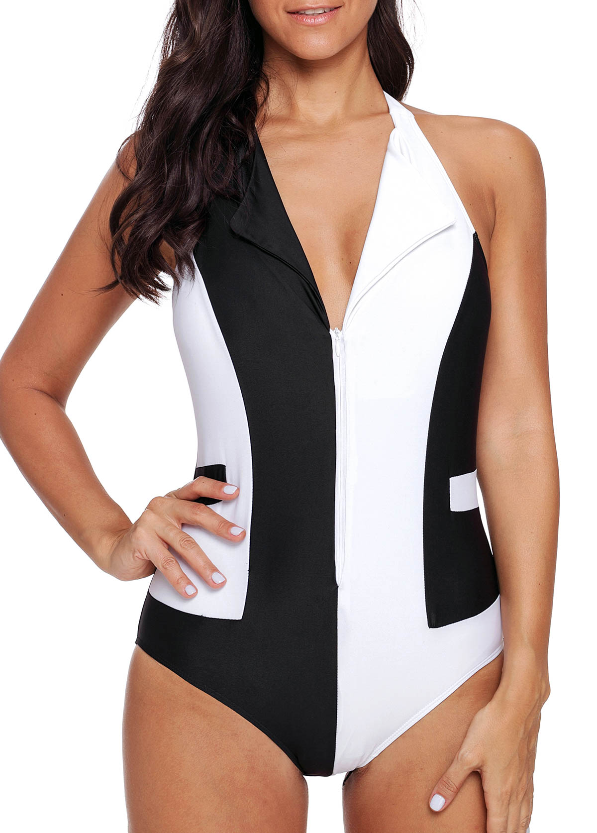 ROTITA Halter Color Block One Piece Swimwear