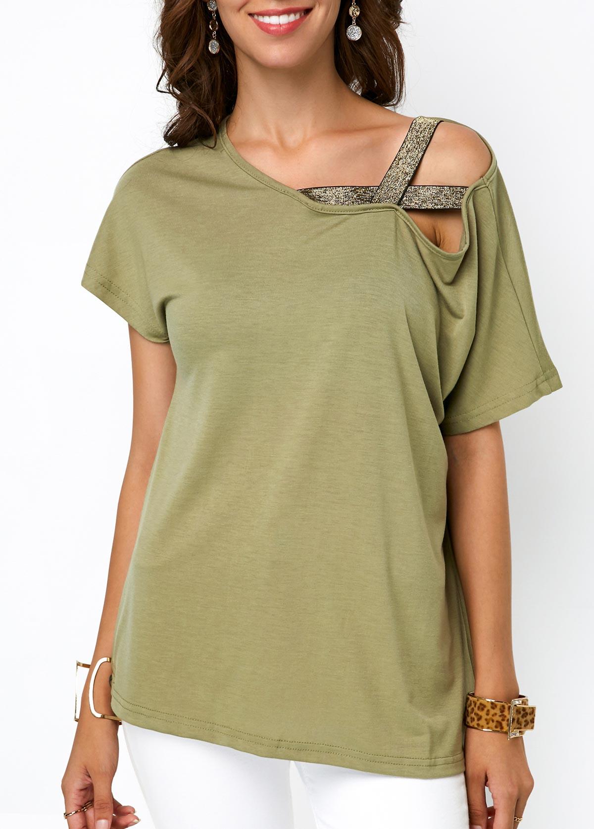 ROTITA Army Green Short Sleeve T Shirt