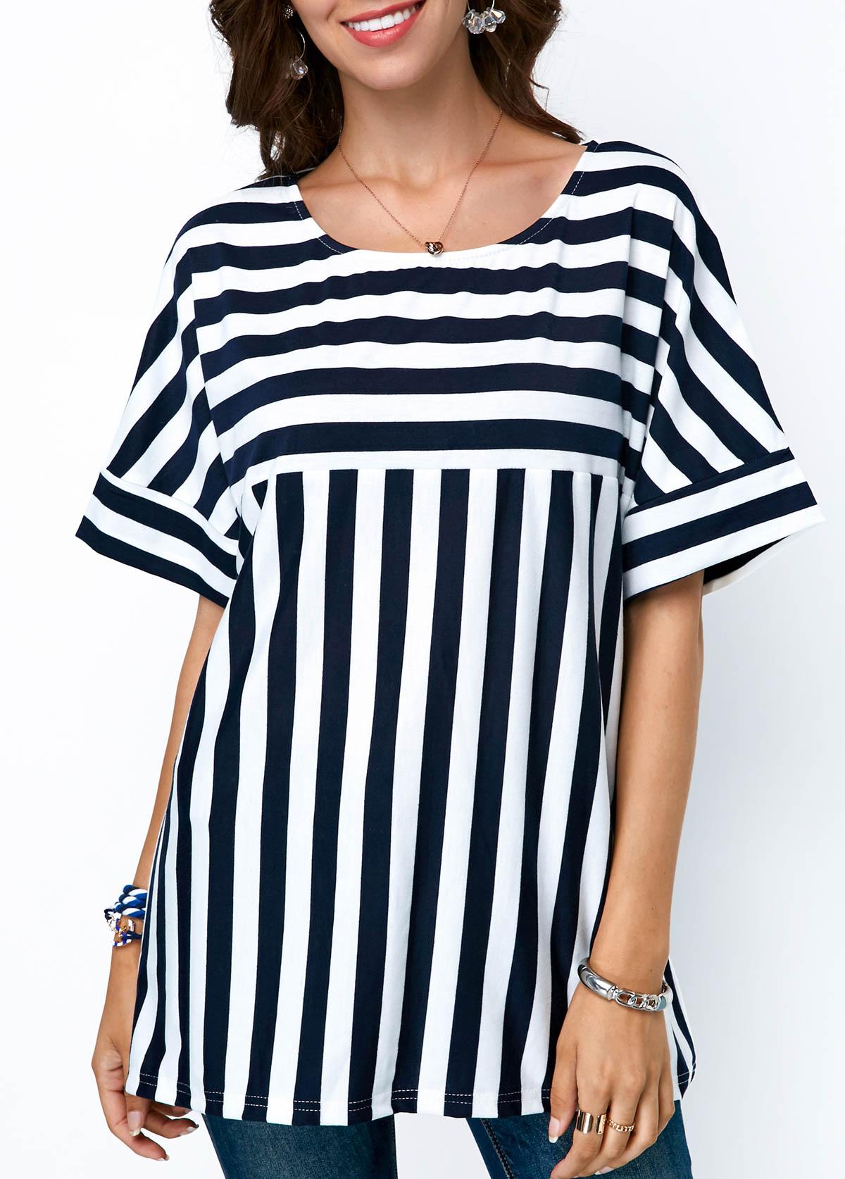 ROTITA Round Neck Stripe Print Navy Blue Blouse