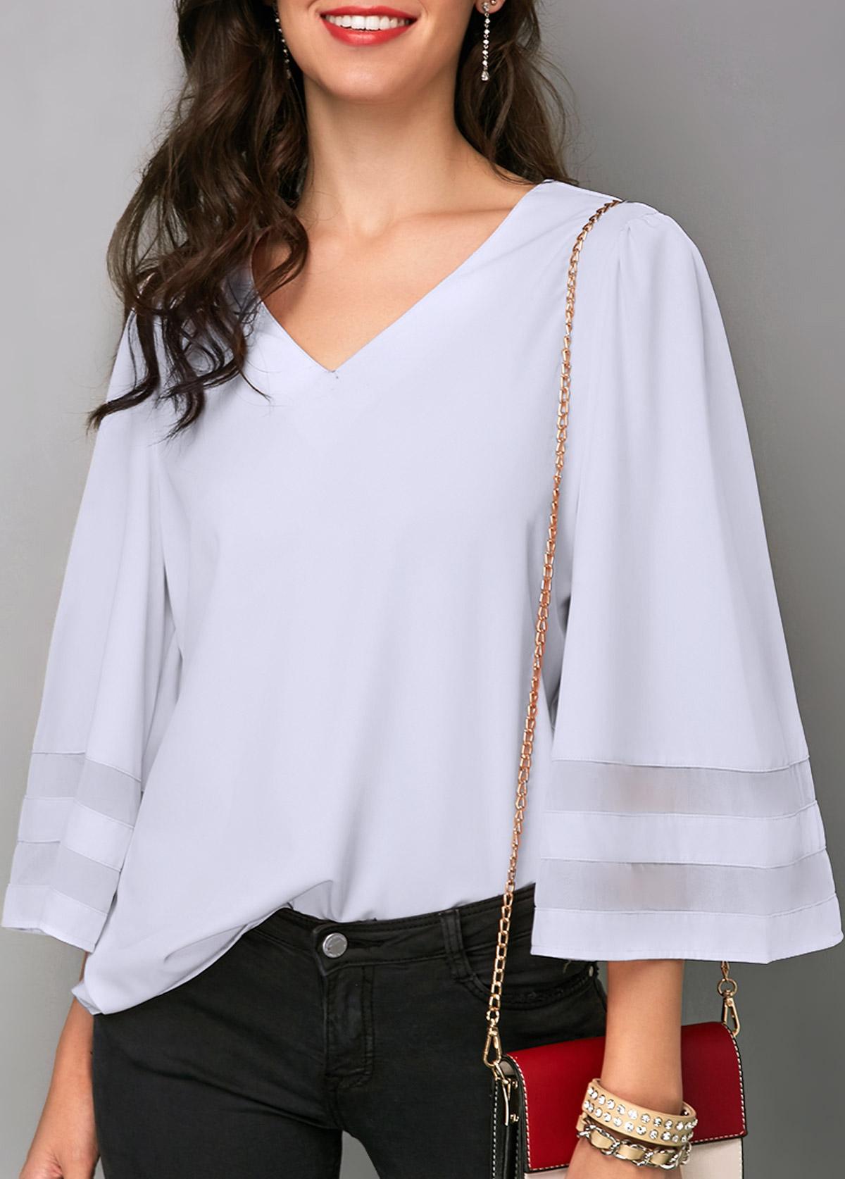 ROTITA V Neck White Flare Sleeve Blouse