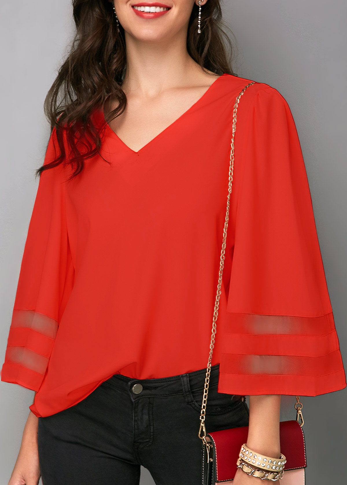 ROTITA Flare Sleeve Orange Red V Neck Blouse