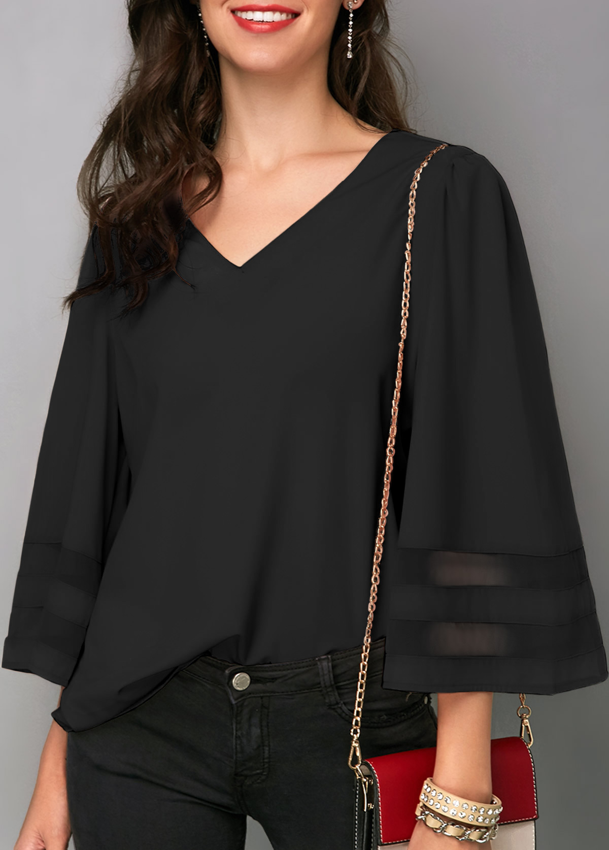 Flare Sleeve Black V Neck Blouse