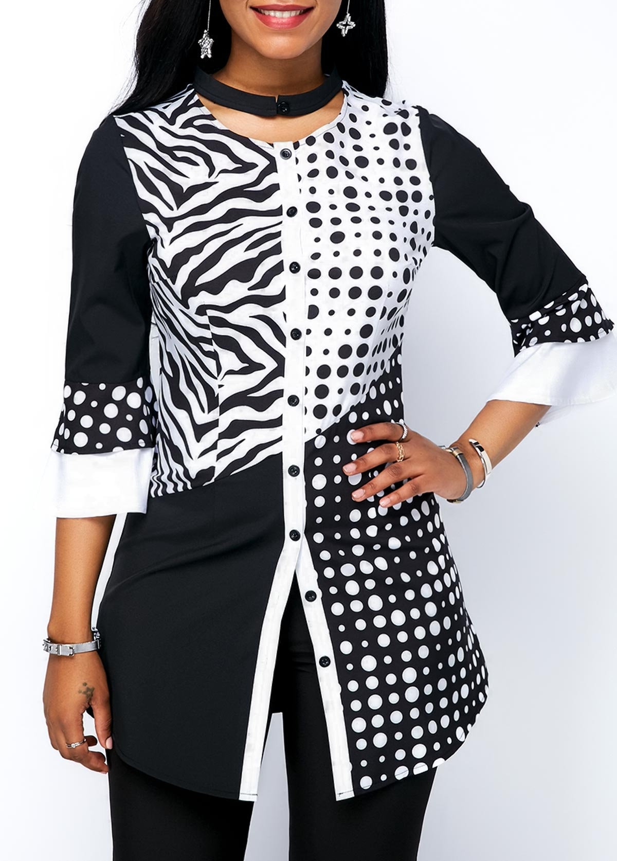 Printed Button Detail Three Quarter Sleeve Blouse