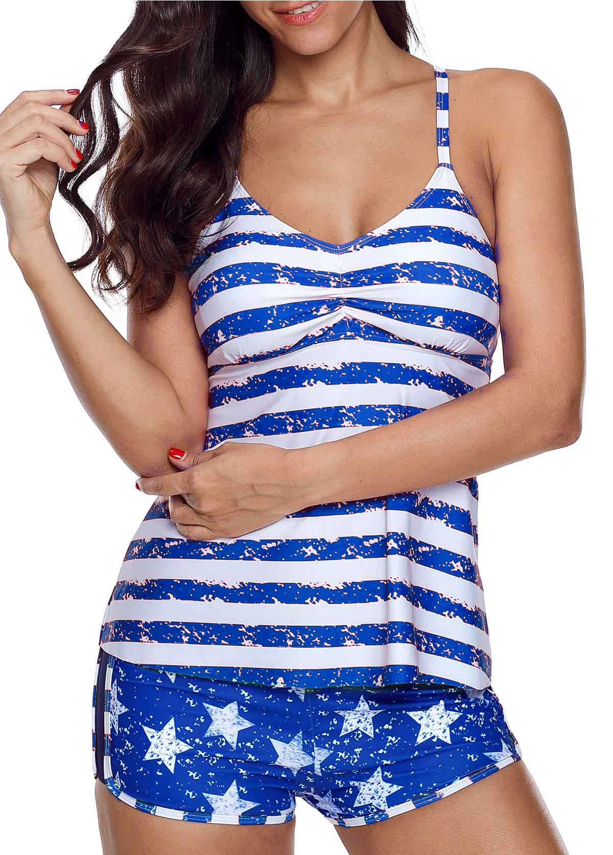 Cutout Stripe and Star Print Tankini Set