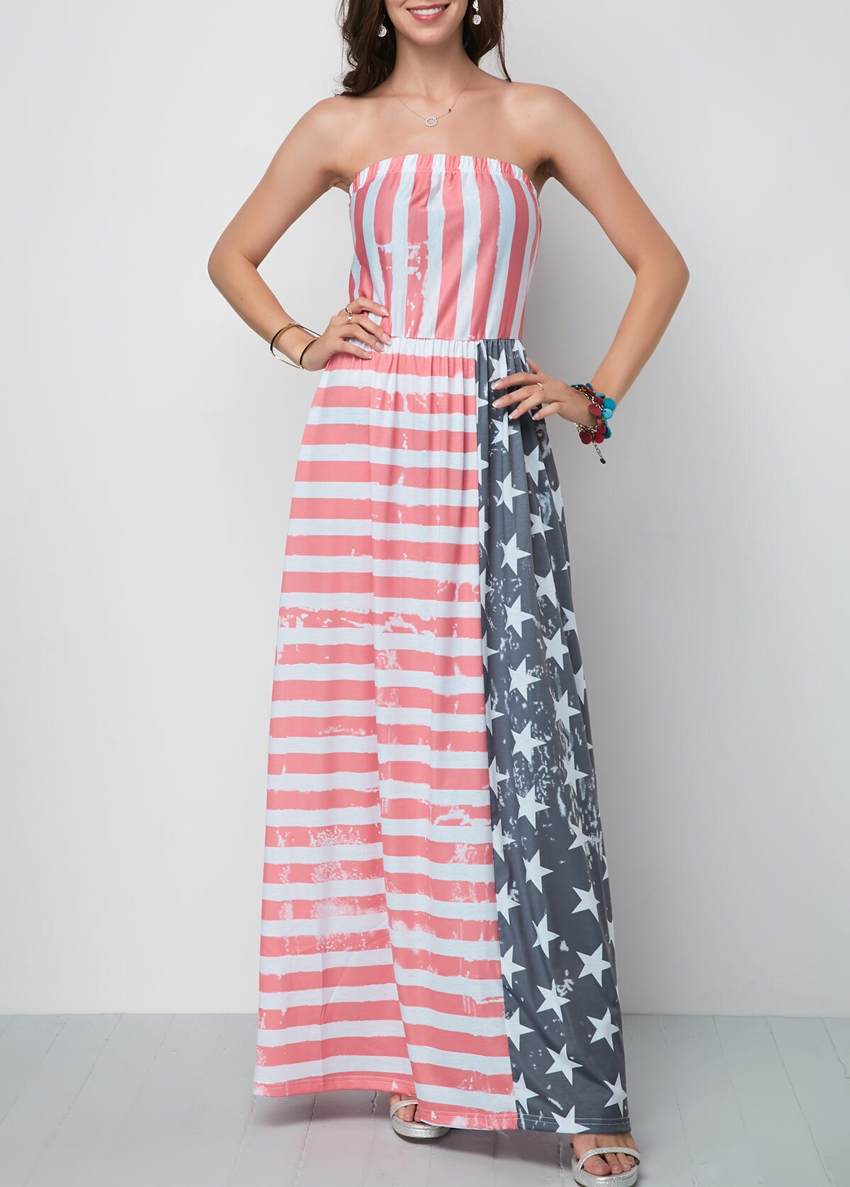 ROTITA American Flag Print Tube Maxi Dress