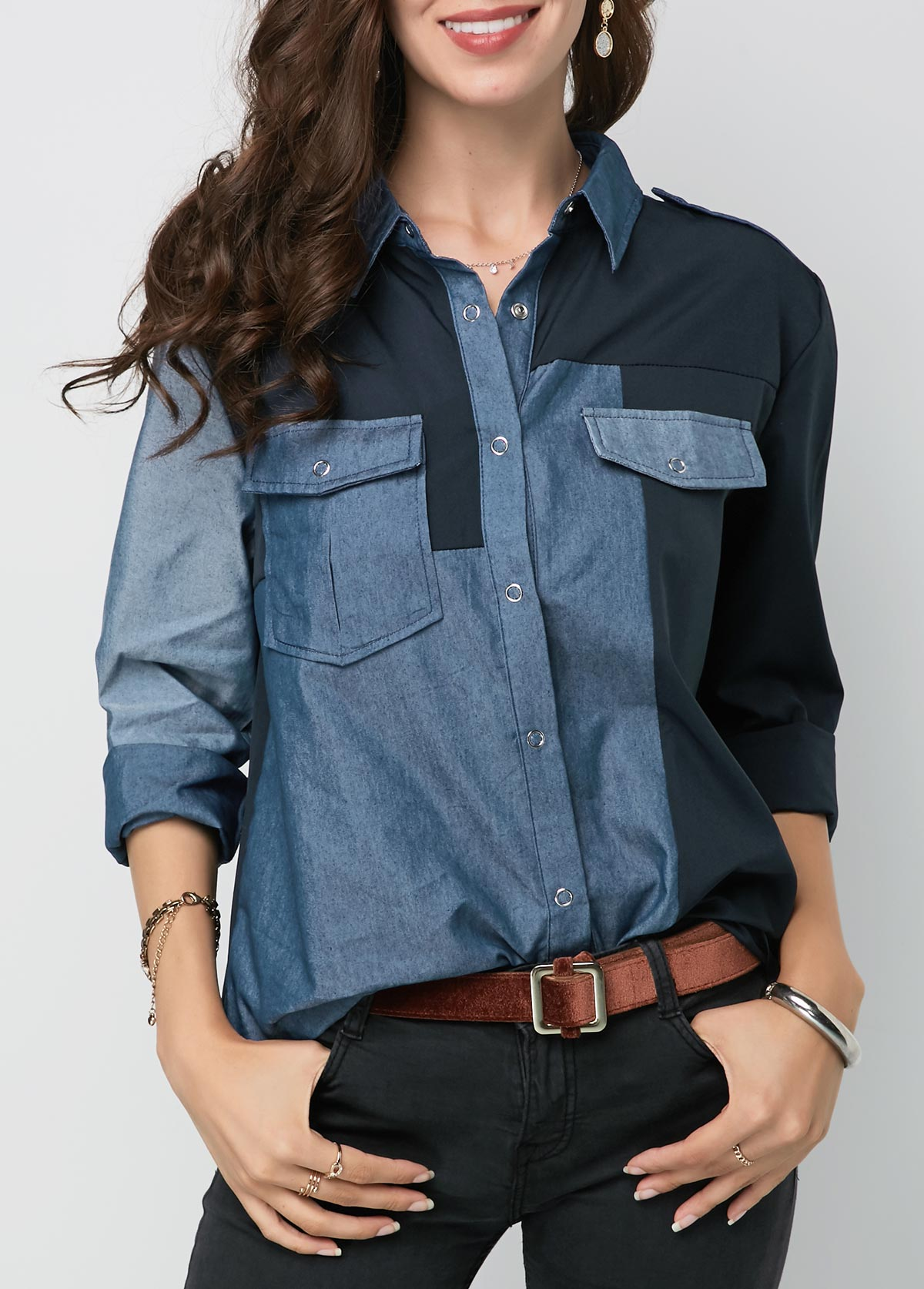 Turndown Collar Button Up Long Sleeve Shirt