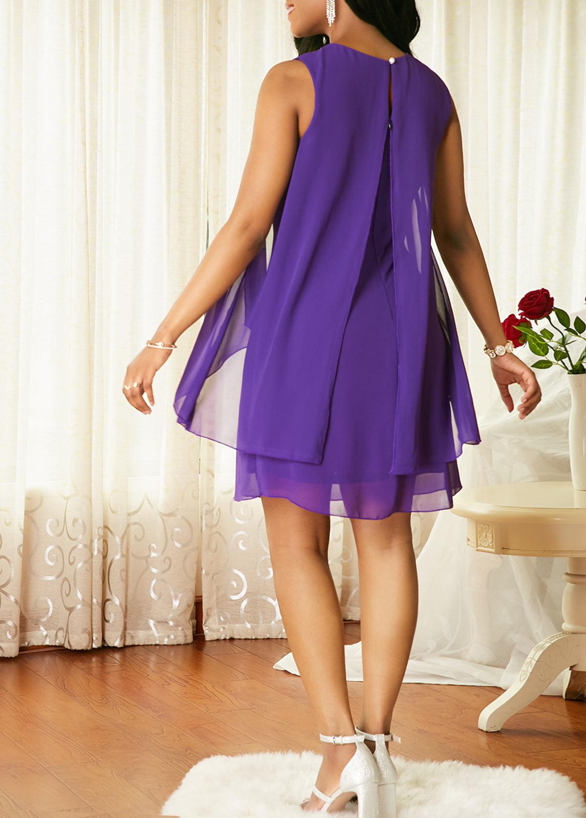 Back Slit Cutout Neck Overlay Chiffon Dress | Rotita.com ...