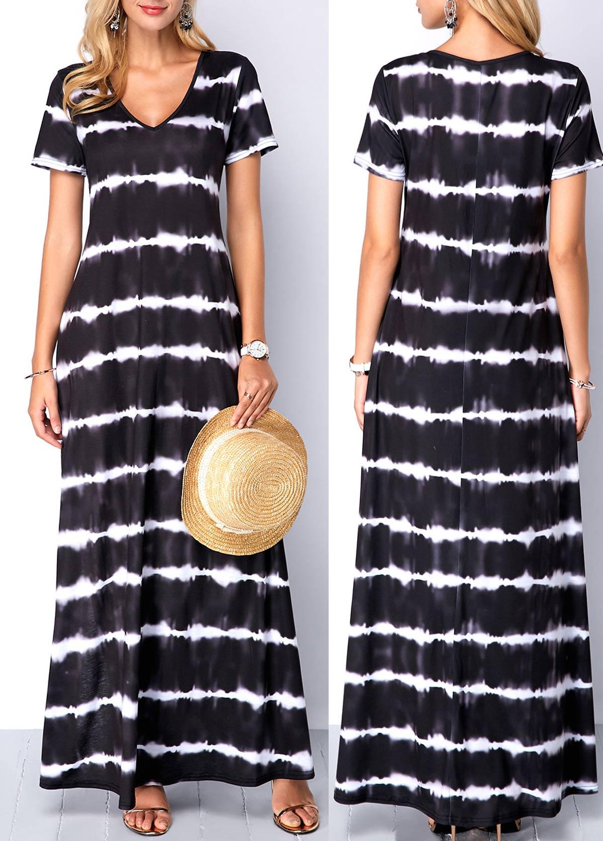Side Slit Stripe Print Maxi Tunic Dress