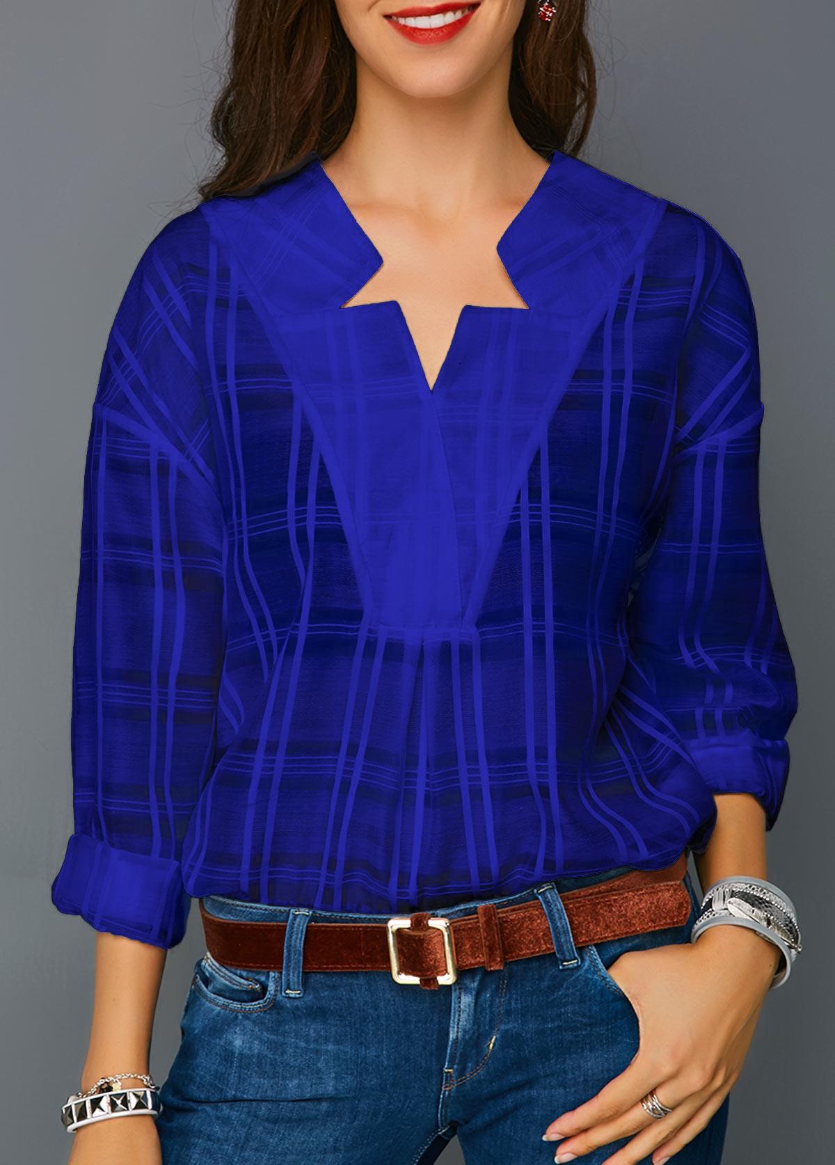 Curved Hem Long Sleeve Royal Blue Blouse