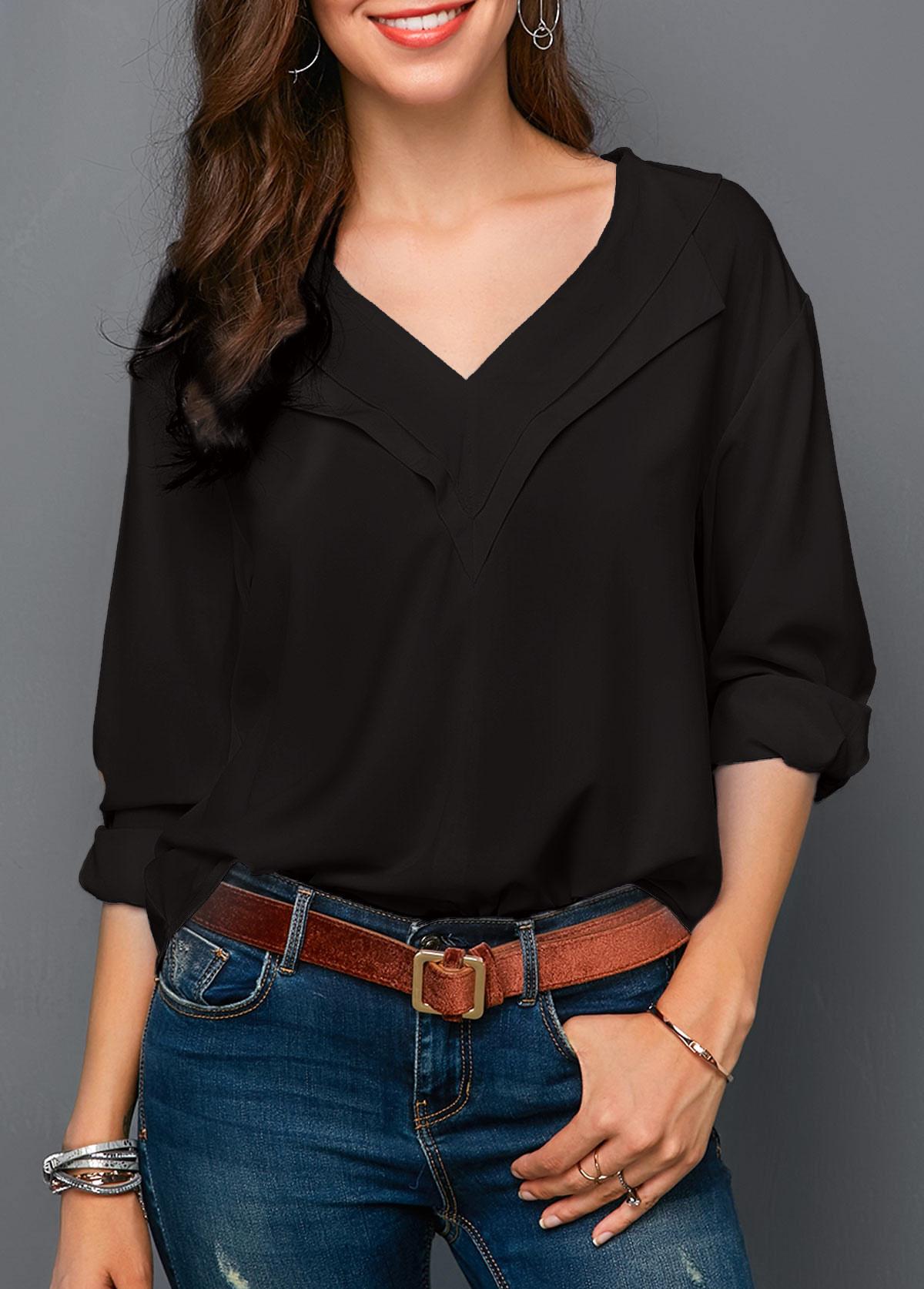 Black V Neck Long Sleeve Blouse
