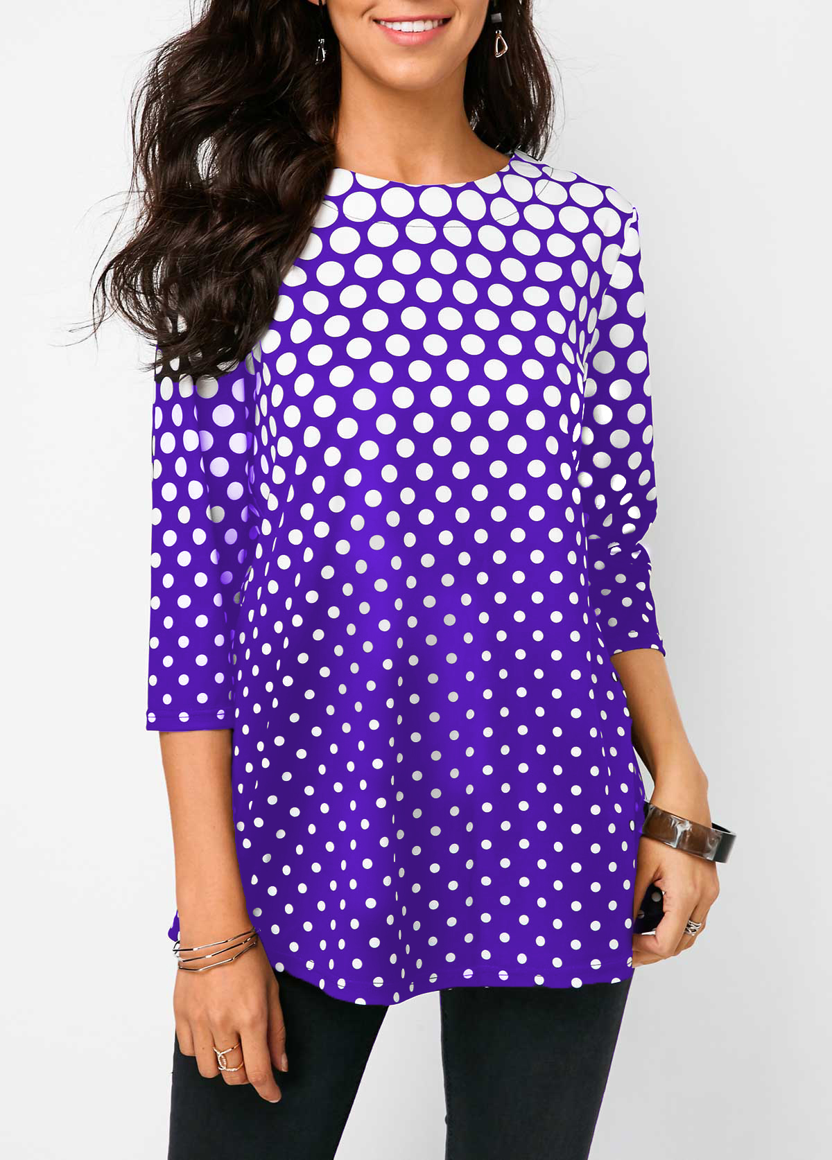 ROTITA Three Quarter Sleeve Polka Dot Purple Blouse