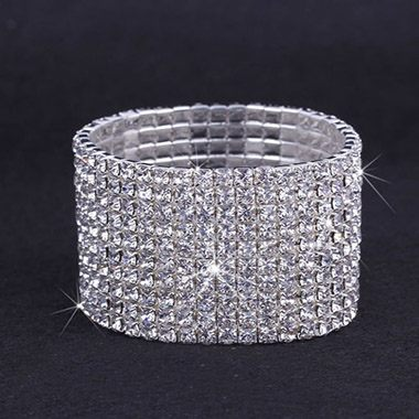 Rhinestone Decorated Silver Metal Wide Bracelet for Woman