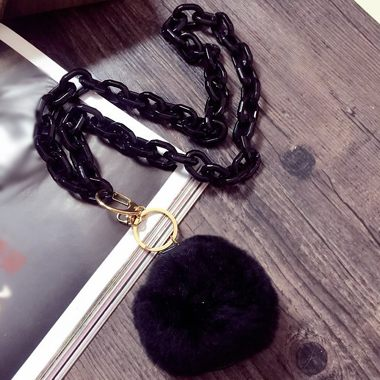 Black Furry Ball Decorated Mirror Pendant Sweater Necklace