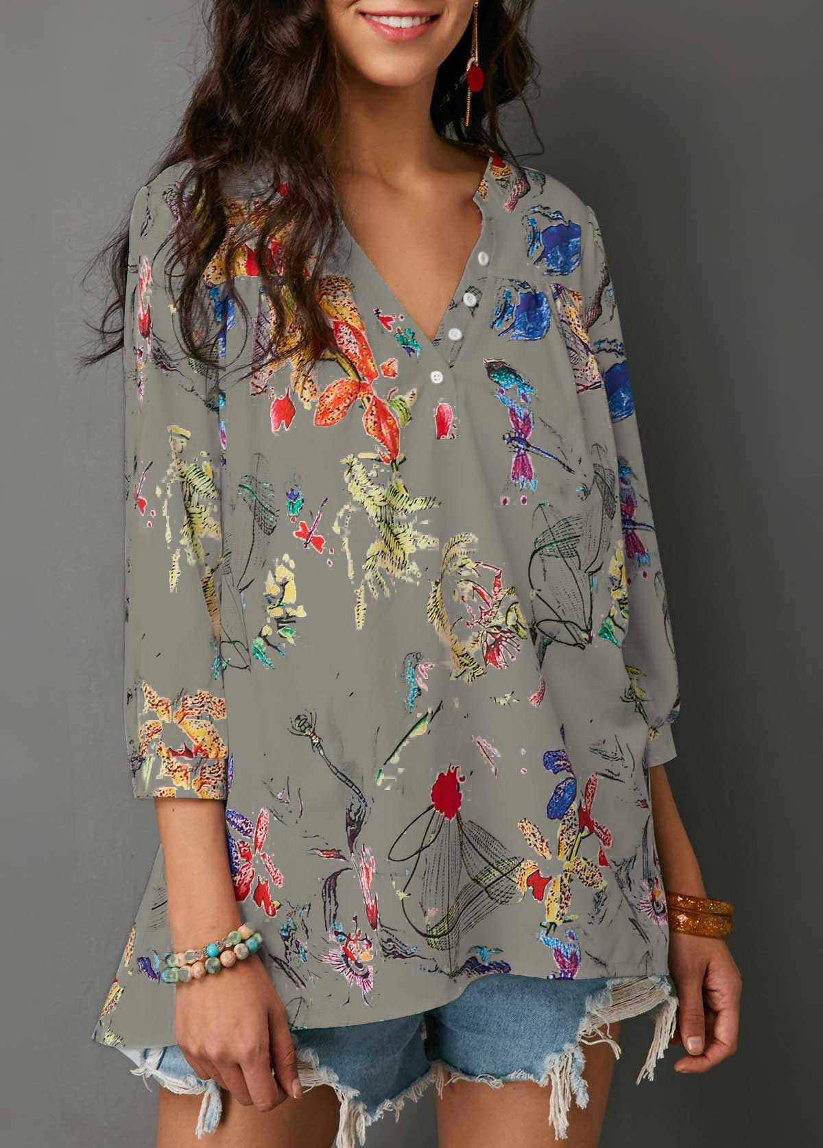 Three Quarter Sleeve Split Neck Blouse