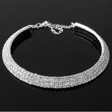 Rhinestone Decorated Metal Choker Necklace for Lady