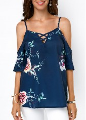 Spaghetti-Strap-Cold-Shoulder-Printed-Navy-Blouse