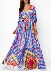 Belted-V-Neck-Printed-High-Waist-Maxi-Dress